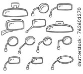 vector set of rear view mirrors | Shutterstock .eps vector #762601270