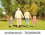 elderly couple with... | Shutterstock . vector #762606634