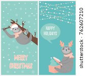 set of christmas card with two... | Shutterstock .eps vector #762607210