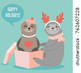 christmas card with two funny...   Shutterstock .eps vector #762607228
