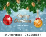 merry christmas lettering with... | Shutterstock .eps vector #762608854