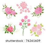 set of roses. vector... | Shutterstock .eps vector #76261609