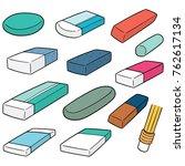 vector set of eraser | Shutterstock .eps vector #762617134