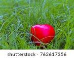 red heart shape on grass ...   Shutterstock . vector #762617356