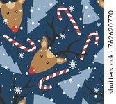 seamless pattern  deers ... | Shutterstock .eps vector #762620770