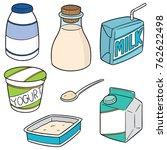 vector set of milk product | Shutterstock .eps vector #762622498