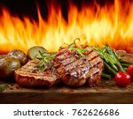 freshly grilled steaks and... | Shutterstock . vector #762626686