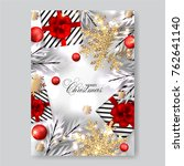merry christmas invitation with ... | Shutterstock .eps vector #762641140