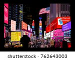 times square at night   vector... | Shutterstock .eps vector #762643003