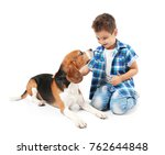 Stock photo cute little boy with dog on white background 762644848