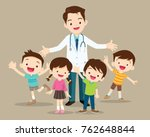 doctor and kids.children... | Shutterstock .eps vector #762648844