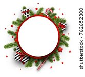 round christmas background with ... | Shutterstock .eps vector #762652300