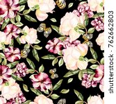watercolor pattern with flowers ... | Shutterstock . vector #762662803