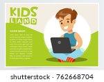 smiling teenager boy sitting...   Shutterstock .eps vector #762668704