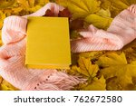 book and a warm scarf on carpet ... | Shutterstock . vector #762672580