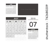 2018 july calendar planner... | Shutterstock .eps vector #762680209