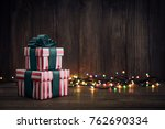 gift boxes with ribbons and... | Shutterstock . vector #762690334