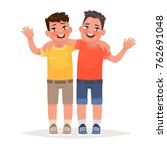 two boys hugged and waved hands.... | Shutterstock .eps vector #762691048