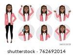 set of emotions for black... | Shutterstock .eps vector #762692014