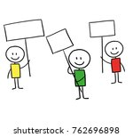 three line men holding signs up ... | Shutterstock . vector #762696898