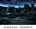 astronauts with spaceship... | Shutterstock . vector #762698443