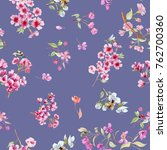 Stock photo watercolor flowers watercolor pattern with little flowers on a blue background seamless pattern 762700360