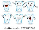 human teeth with facial... | Shutterstock .eps vector #762703240