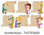paper templates with kids... | Shutterstock .eps vector #762703600