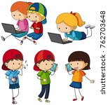 kids doing different activities ... | Shutterstock .eps vector #762703648
