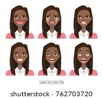 set of emotions for black... | Shutterstock .eps vector #762703720