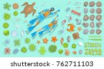 vector set of underwater sea... | Shutterstock .eps vector #762711103