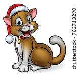 a cute cartoon cat character... | Shutterstock .eps vector #762713290