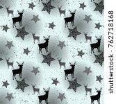 deer and star on white seamless ... | Shutterstock .eps vector #762718168