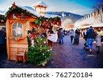 Small photo of TRENTO, ALTO ADIGE, ITALY - DECEMBER 17, 2016: traditional Christmas market. Trento, Alto Adige, Italy
