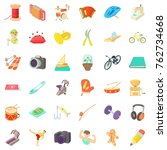 hobby icons set. cartoon style... | Shutterstock .eps vector #762734668