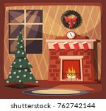 merry christmas. fireplace and...