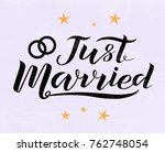 hand drawn just married... | Shutterstock .eps vector #762748054
