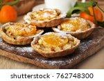 mini fruit tarts with... | Shutterstock . vector #762748300
