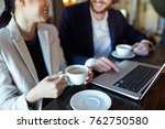 mobile colleagues discussing... | Shutterstock . vector #762750580