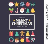 flat christmas icons seamless... | Shutterstock .eps vector #762752290