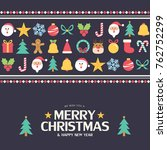 flat christmas icons seamless... | Shutterstock .eps vector #762752299