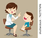 doctor is seeing a small boy...   Shutterstock .eps vector #762757696