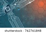 microchip with contacts on... | Shutterstock .eps vector #762761848