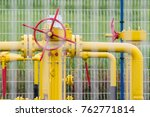 gas pipeline and valve behind... | Shutterstock . vector #762771814
