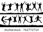 jumping people set crowd... | Shutterstock .eps vector #762772714