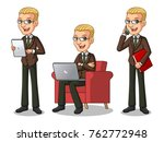 set of blonde businessman in... | Shutterstock .eps vector #762772948