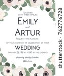 wedding invitation floral... | Shutterstock .eps vector #762776728