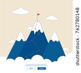 vector flat flag on mountain.... | Shutterstock .eps vector #762780148