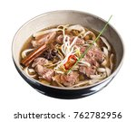 pho bo noodle soup isolated on... | Shutterstock . vector #762782956