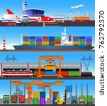 set of flat vector images on... | Shutterstock .eps vector #762792370